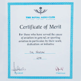 Royal Aero Club  Certificate of Merit awarded to Kim Newton for 30 years service to the parachute industry